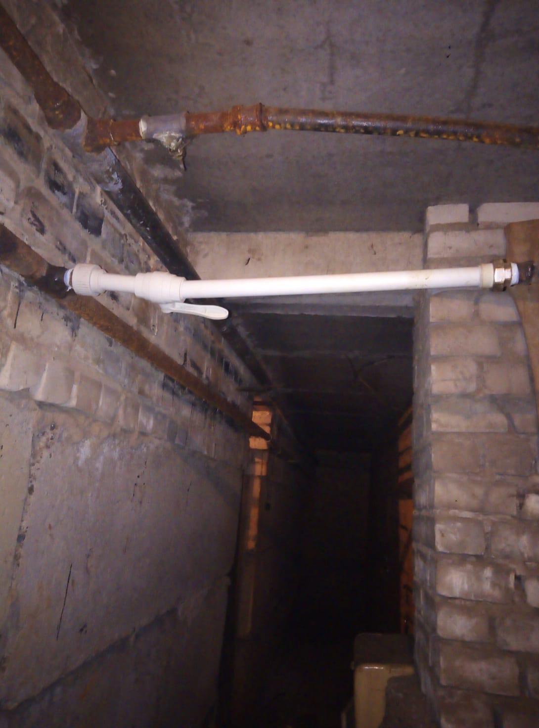 Частичная замена труб лежака ХВС по подвалу