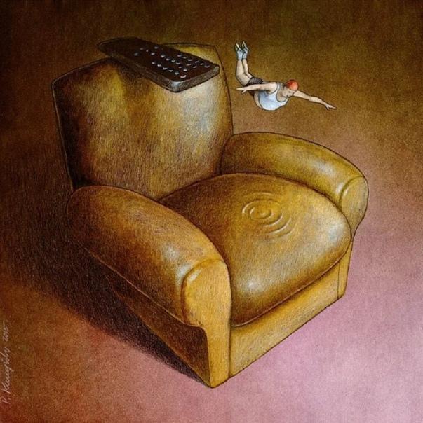 Польскому художнику Павлу Кучинскому удаётся выразить все проблемы нашего мира в простых рисунках