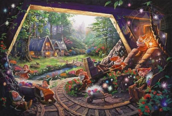 Томас Кинкейд был невероятно одаренным иллюстратором и создал огромное количество совершенно потрясающих рисунков Он часто рисовал персонажей, парки развлечений и сказочные виды из диснеевских