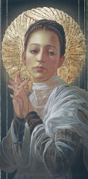 Женская чистота и божественный символизм в картинах американо-испанского художника-модерниста Мануэль Нуньес (младший .Мануэль Нуньес находит духовную красоту в своих предметах, которая