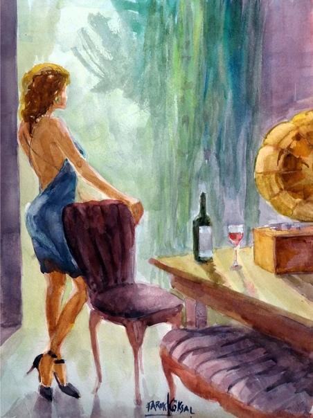 Художник Фарук Кёсаль. Акварель является его самой большой страстью, ведь позволяет создать наивные и увлекательные работы, добиваясь интересных цветовых эффектов с помощью смешивания