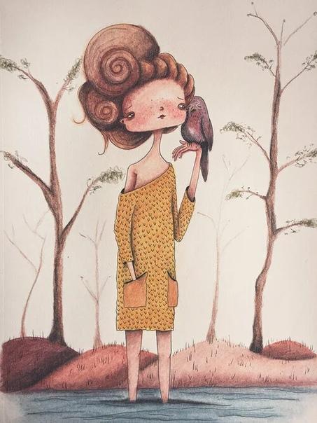 Автора зовут Feme Muntz и кликнув по её имени вы перейдёте на сайт художницы, где можно познакомиться с большим количеством её работ Художница очень любит рисовать девушек, немного цветы и